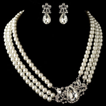 Rhodium Ivory Pearl & Rhinestone Side Accented Jewelry Set - Southern Cross Beauty