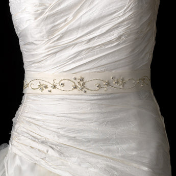 Beaded & Rhinestone Accented Wedding Sash Bridal Belt - Southern Cross Beauty