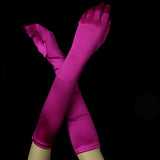 Bridal Bridesmaid Gloves - Fuchsia Satin - Southern Cross Beauty