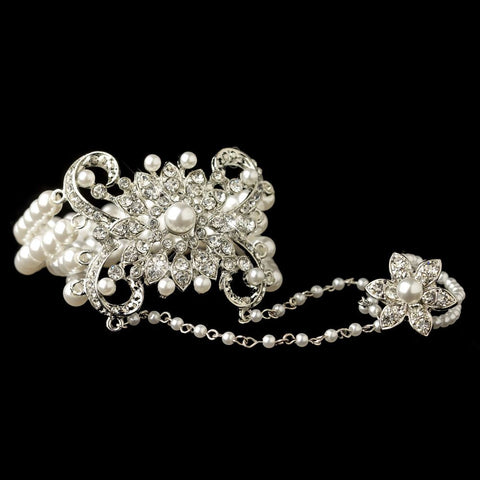 Rhodium White Pearl & Rhinestone Floral Great Gatsby Stretch Bracelet & Ring - Southern Cross Beauty