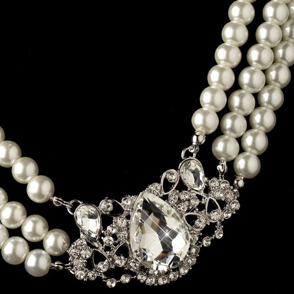 Rhodium Ivory Pearl & Rhinestone Side Accented Jewelry Set