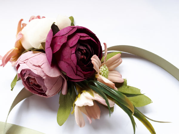 Pink Flower Cloth Ribbon Wrist Corsage