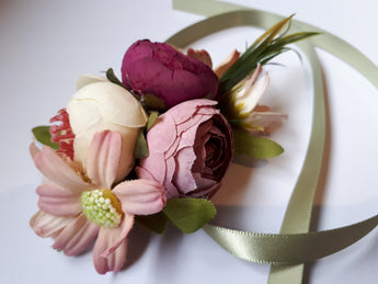 Pink Flower Cloth Ribbon Wrist Corsage - Southern Cross Beauty