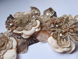 Handmade Lace, Fabric Flowers & Feathers Hair Vine - Southern Cross Beauty
