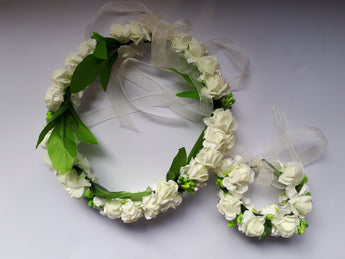 Flowergirl Plastic Ribbon Flower Headband & Wrist Corsage set - Southern Cross Beauty