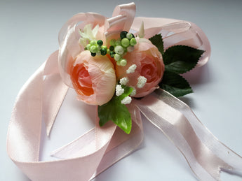 Orange Satin Flower Wrist Corsage - Southern Cross Beauty