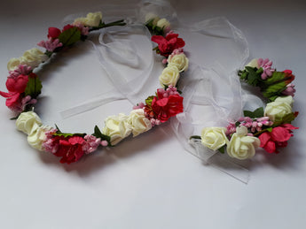 Flowergirl Silk Foam Ribbon Headband & Wrist Corsage set - Southern Cross Beauty