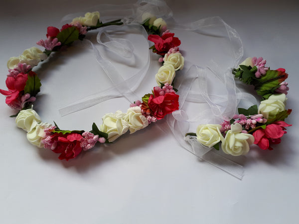 Flowergirl Silk Foam Ribbon Headband & Wrist Corsage set