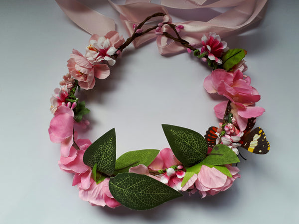 Rose Silk Foam Flower with Ribbon Halo Headband - Southern Cross Beauty