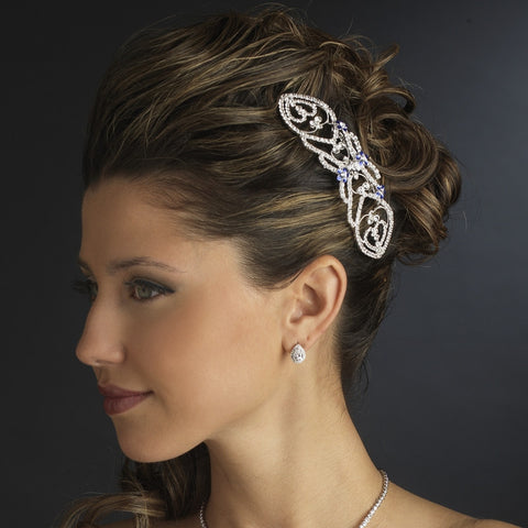 Silver Clear & Blue Rhinestone Bella Twilight Inspired Hair Comb - Southern Cross Beauty