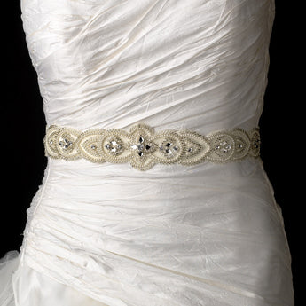 Embroidered Faux Pearl & Silver Beaded Bridal Wedding Sash Belt with Rhinestones - Southern Cross Beauty