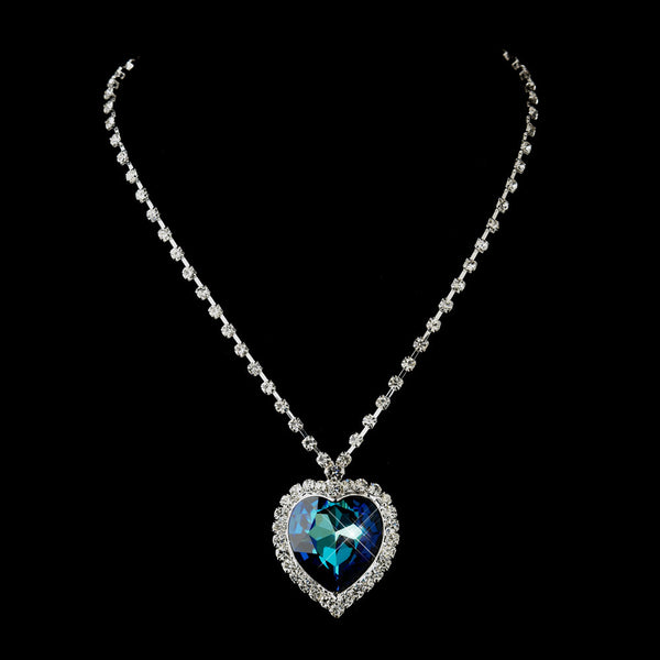 Silver Blue Crystal Titanic Inspired Heart of the Ocean Necklace