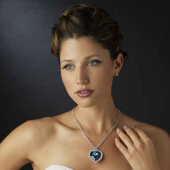Silver Blue Crystal Titanic Inspired Heart of the Ocean Necklace - Southern Cross Beauty