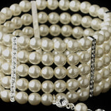 Silver 5 Row Ivory Pearl Great Gatsby 1920s Inspired Stretch Bracelet with Ring - Southern Cross Beauty