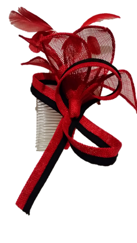 Red Black fascinator comb