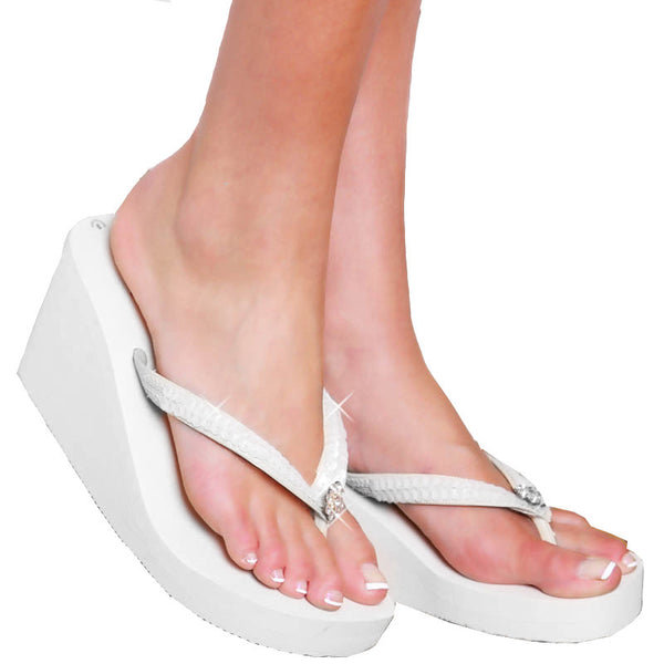 White - High Wedge Bridal Flip Flops with Sequins & Crystals