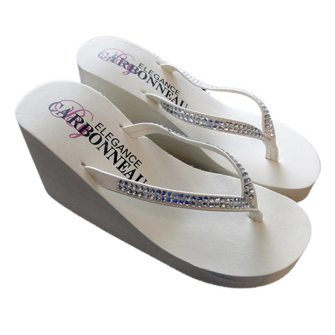 Ivory High Wedge Bridal Flip Flops with Crystal Accents - US size 6 only