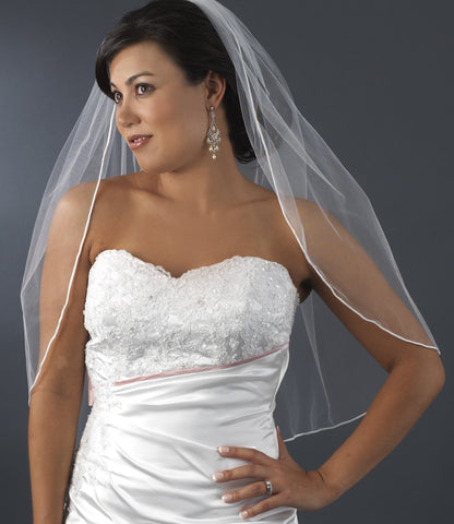 One Layer Shimmer Rattail Satin Corded Edge - Fingertip Length Veil