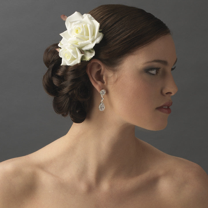 LAST ONE - Classic Diamond White Pointed Garden Rose Flower Hair Clip with Leaves