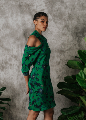 Load image into Gallery viewer, Imani Cold Shoulder Dress - Green Floral