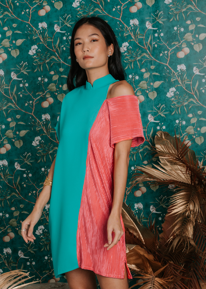 Load image into Gallery viewer, Francine Cold Shoulder Cheongsam