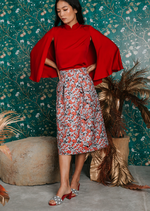 Load image into Gallery viewer, Evie Jacquard Flare Skirt