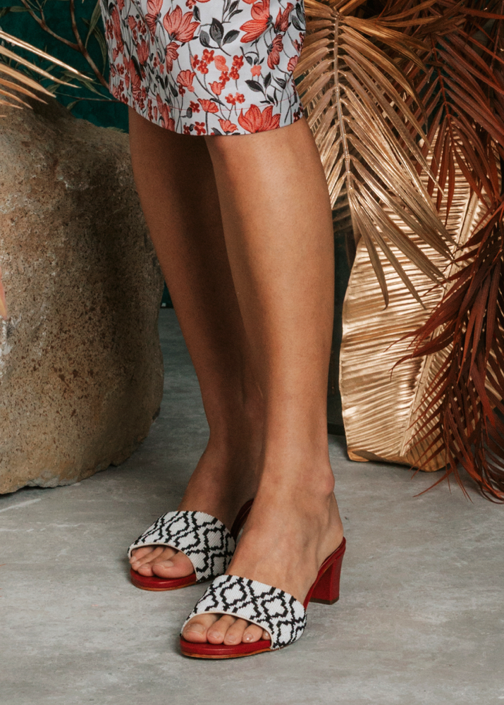 Load image into Gallery viewer, Damask Delight Heeled Sandal (Pre-order)