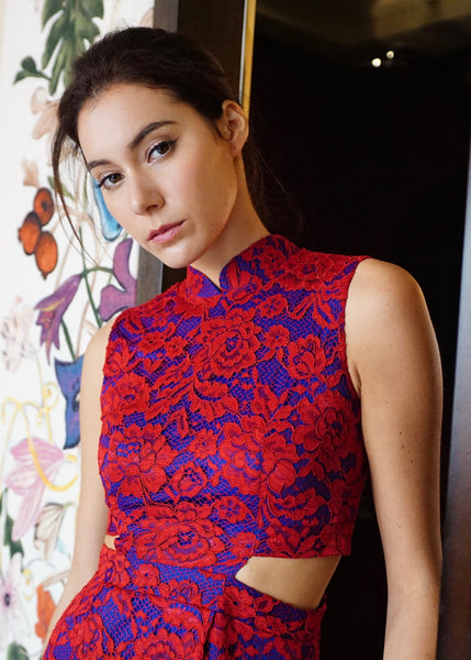 Signature Lace Cut Out Cheongsam-Red (Pre-order)