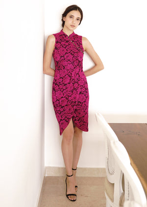 Load image into Gallery viewer, Signature Lace Cheongsam - Fuchsia (Pre-order)