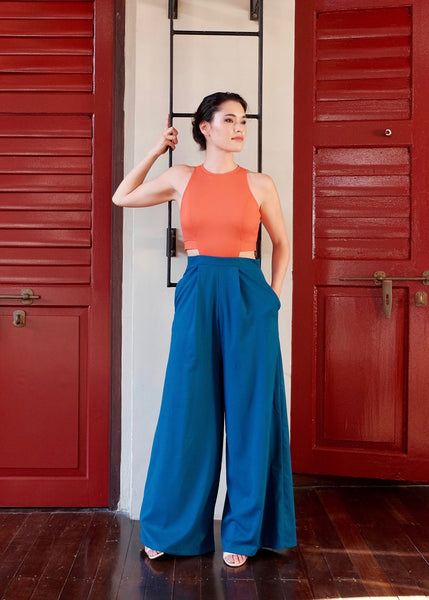 Jem Racer Maxi Jumpsuit- Orange/Fall Blue
