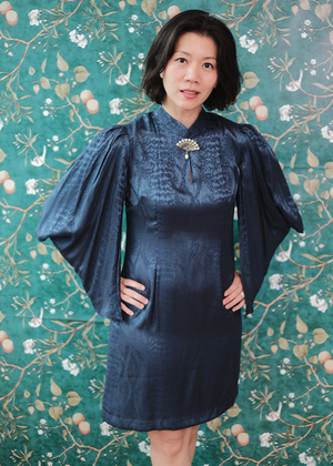 Aori Kimono Sleeve Dress - Copper / Navy
