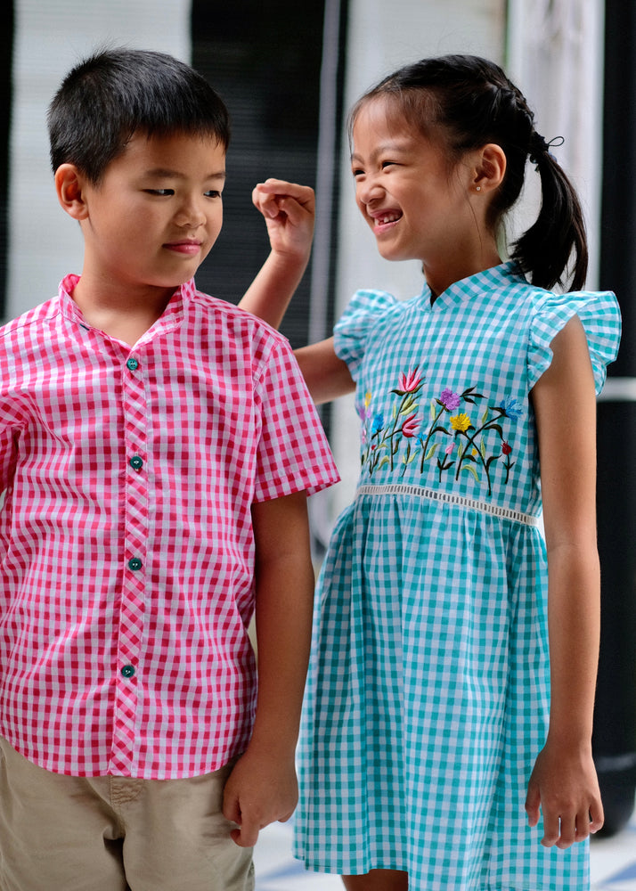 Load image into Gallery viewer, Lil' Alana Cheongsam - Turquoise / Pink / Yellow
