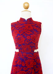 Signature Lace Cut Out Cheongsam-Red