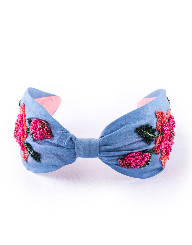 Load image into Gallery viewer, Blue Rosette Headband