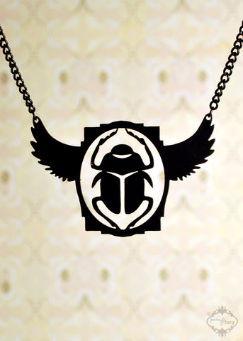 Egyptian Art Deco Scarab Beetle Necklace in black stainless steel