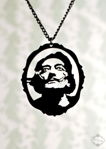 Salvador Dali Tribute Necklace in black stainless steel