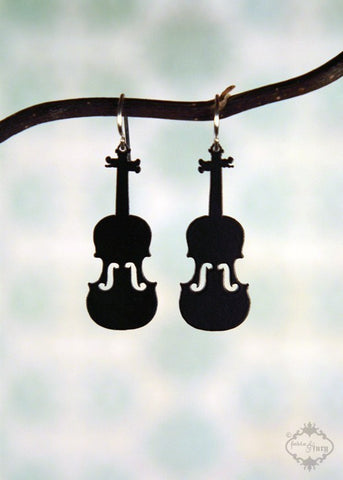 Black Violin Earrings in stainless steel