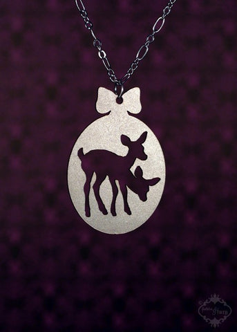 Twin Deer Cameo Necklace in silver stainless steel