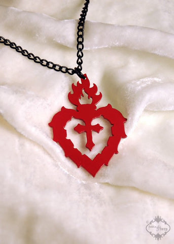 Red Sacred Heart Necklace in stainless steel