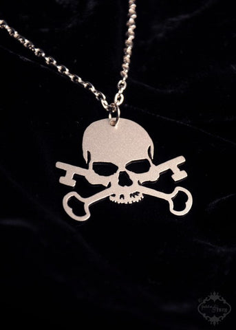 Skull and Crossed Skeleton Key Necklace in stainless steel