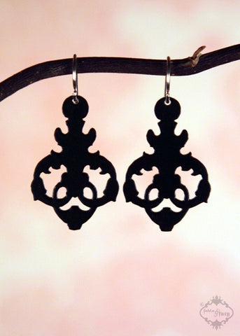 Ornate Droplet Earrings in black stainless steel