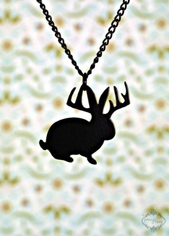 Black Jackalope Necklace in stainless steel