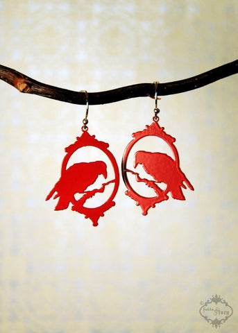 Silhouette Raven earrings in red stainless steel