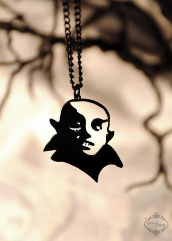 Nosferatu inspired Vampire Necklace in black stainless steel