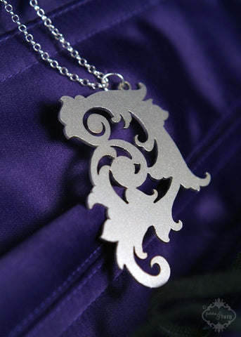 Ornate Scroll Pendant Necklace in stainless steel