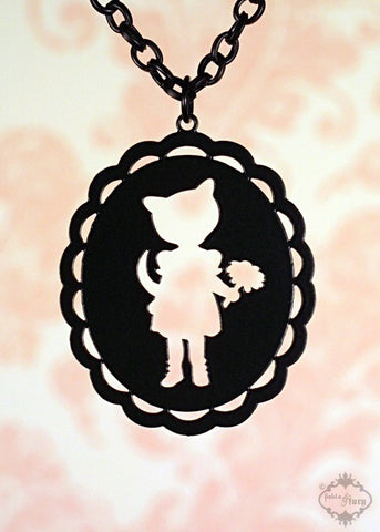 Cat Girl Oval Cameo Necklace in black stainless steel