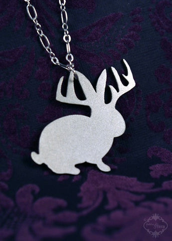Jackalope Silhouette Necklace in silver stainless steel
