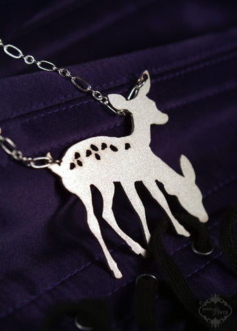 Conjoined Twin Two Headed Deer Silhouette Necklace in stainless steel