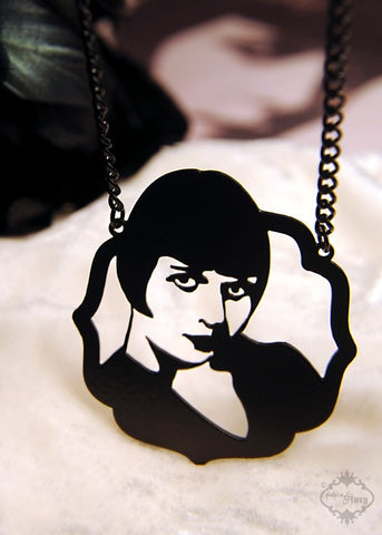 Louise Brooks Tribute Necklace in black stainless steel