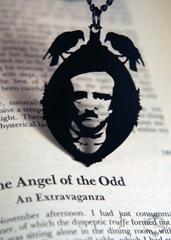 Edgar Allan Poe Cameo Necklace in black stainless steel